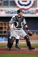 Daytona Tortugas catcher Joe Hudson (8) checks the runner during a game against the Charlotte Stone Crabs on April 14, 2015 at Charlotte Sports Park in Port Charlotte, Florida.  Charlotte defeated Daytona 2-0.  (Mike Janes/Four Seam Images)