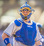 22 June 2013: Los Angeles Dodgers catcher A.J. Ellis in action against the San Diego Padres at Petco Park in San Diego, California. The Dodgers defeated the Padres 6-1 in the third game of their 4-game Divisional Series. Mandatory Credit: Ed Wolfstein Photo *** RAW (NEF) Image File Available ***