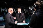 Stockholm 2014-11-16 Ishockey Hockeyallsvenskan AIK - IF Bj&ouml;rkl&ouml;ven :  <br /> Viasat Sports programledare Niklas Jihde i TV-studion med expert Erik Granqvist inf&ouml;r matchen mellan AIK och IF Bj&ouml;rkl&ouml;ven <br /> (Foto: Kenta J&ouml;nsson) Nyckelord:  AIK Gnaget Hockeyallsvenskan Allsvenskan Hovet Johanneshov Isstadion Bj&ouml;rkl&ouml;ven L&ouml;ven IFB TV Viasat TV-studio