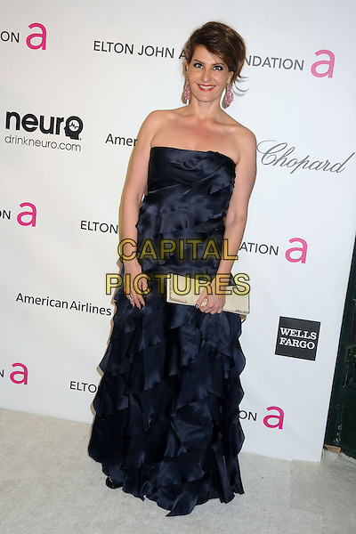 Nia Vardalos.21st Annual Elton John Academy Awards Viewing Party held at West Hollywood Park, West Hollywood, California, USA..February 24th, 2013.oscars full length black strapless ruffle dress white clutch bag.CAP/ADM/BP.©Byron Purvis/AdMedia/Capital Pictures.