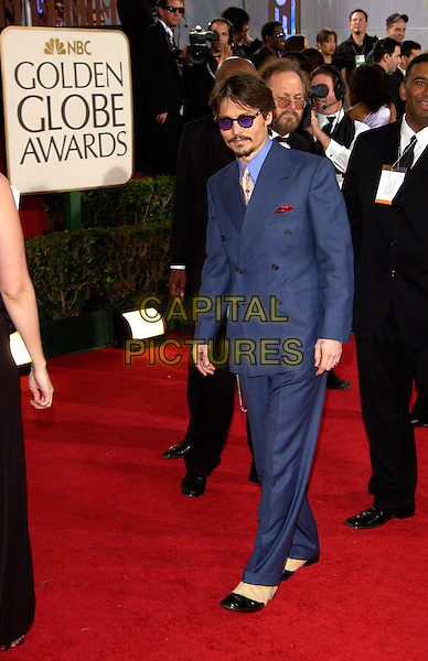 JOHNNY DEPP.62nd Annual Golden Globe Awards at The Beverly Hilton Hotel Hotel, Los Angeles, California. Arrivals.January 16th, 2005 .full length, blue suit, sunglasses shades, goatee.www.capitalpictures.com.sales@capitalpictures.com.©Capital Pictures
