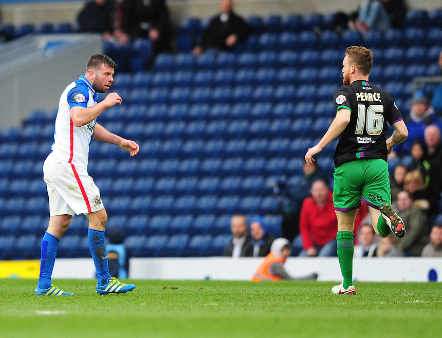 Blackburn Rovers' Grant Hanley reacts after being caught by Bristol City's Korey Smith in an off the ball incident which resulted in a red card for the visiting player<br /> <br /> Photographer Chris Vaughan/CameraSport<br /> <br /> Football - The Football League Sky Bet Championship - Blackburn Rovers v Bristol City - Saturday 23rd April 2016 - Ewood Park - Blackburn <br /> <br /> &copy; CameraSport - 43 Linden Ave. Countesthorpe. Leicester. England. LE8 5PG - Tel: +44 (0) 116 277 4147 - admin@camerasport.com - www.camerasport.com