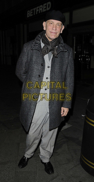 John Malkovich.The 'Masquerade' UK film premiere, London Korean Film Festival 2012, Odeon West End cinema, Leicester Square, London, England..November 10th, 2012.full length black grey gray suit coat hat scarf.CAP/CAN.©Can Nguyen/Capital Pictures.