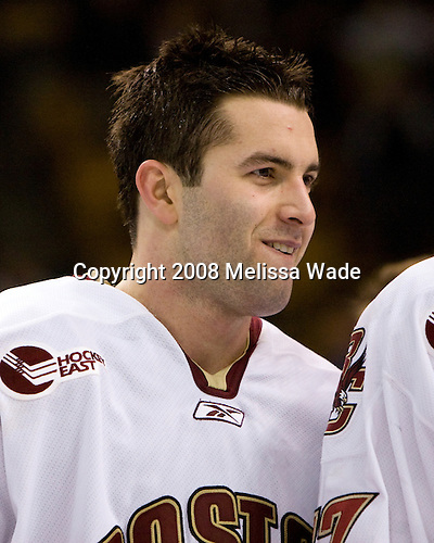Anthony Aiello (BC 2) - The Boston College Eagles defeated the Harvard University Crimson 6-5 in overtime on Monday, February 11, 2008, to win the 2008 Beanpot at the TD Banknorth Garden in Boston, Massachusetts. Anthony Aiello, junior defenseman for the Boston College Eagles, is a 2005 fifth round pick of the Minnesota Wild.