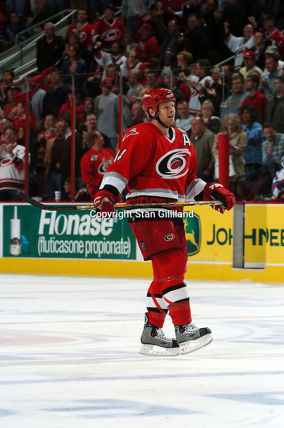 Carolina Hurricanes' Kevyn Adams skates during a clock stoppage during a game with the New York Rangers Thursday, Nov. 17, 2005 in Raleigh, NC. Carolina won 5-1.