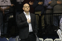 STATE COLLEGE, PA - FEBRUARY 16: Cael Sanderson of the Penn State Nittany Lions stands on the mat before a match against the Oklahoma State Cowboys on February 16, 2014 at Rec Hall on the campus of Penn State University in State College, Pennsylvania. Penn State won 23-12. (Photo by Hunter Martin/Getty Images) *** Local Caption *** Cael Sanderson