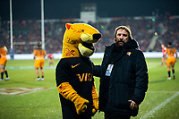 Jaguares communications manager Joaquin Galan with the team mascot during the 2019 Super Rugby final between the Crusaders and Jaguares at Orangetheory Stadium in Christchurch, New Zealand on Saturday, 6 July 2019. Photo: Dave Lintott / lintottphoto.co.nz