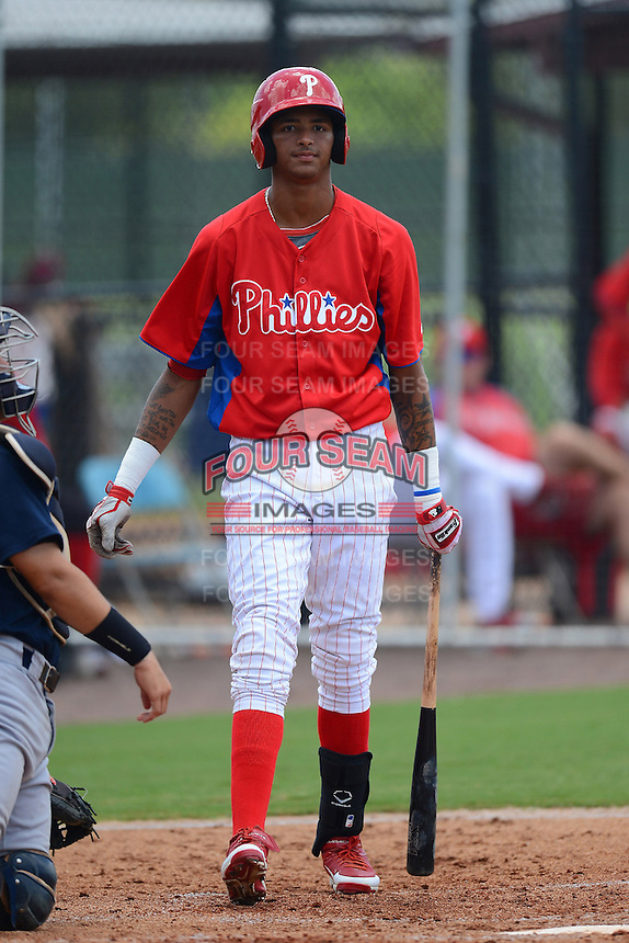 GCL Phillies outfielder Jose Pujols (23) during a game against the GCL Yankees 2 on July 22, 2013 at Carpenter Complex in Clearwater, Florida.  GCL Yankees defeated the GCL Phillies 2-1.  (Mike Janes/Four Seam Images)