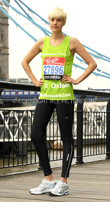 WWW.ACEPIXS.COM . . . . .  ..... . . . . US SALES ONLY . . . . .....April 15 2011, London....Agyness Deyn promotes the Virgin London Marathon at The Tower Hotel on April 15, 2011 in London, England.....Please byline: FAMOUS-ACE PICTURES... . . . .  ....Ace Pictures, Inc:  ..Tel: (212) 243-8787..e-mail: info@acepixs.com..web: http://www.acepixs.com