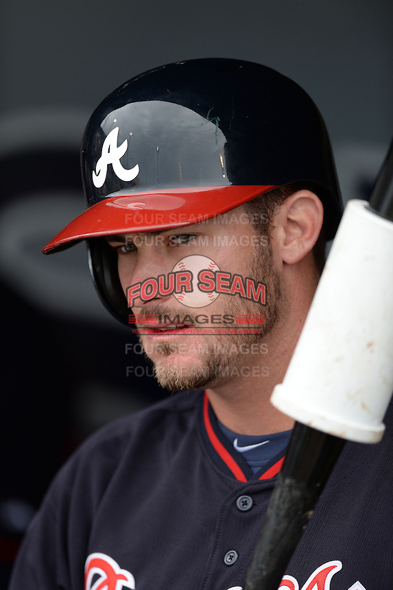 Atlanta Braves outfielder Joey Terdoslavich (25) during a spring training game against the Detroit Tigers on February 27, 2014 at Joker Marchant Stadium in Lakeland, Florida.  Detroit defeated Atlanta 5-2.  (Mike Janes/Four Seam Images)