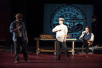 """Photo from the dress rehearsal of """"Dynamite,"""" a new experimental play by Occidental College's Laural Meade '88. The play will run November 9-13 in Oxy's Keck Theater. Photo taken on Tuesday, November 8, 2011. (Photo by Marc Campos, Oxy College Photographer)"""