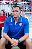 FC Kansas City head coach Vlatko Andonovski watches his team before the game at the Maryland SoccerPlex in Boyds, MD. The Washington Spirit tied FC Kansas City, 1-1.