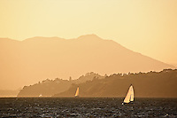 Sailboats on San Francisco Bay at sunset, from Treasure Island, San Francisco, California