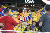 Santa Clara, CA - Friday June 3, 2016: A Colombia fan celebrates the victory. USA played Colombia in the opening match of the Copa América Centenario game at Levi's Stadium.