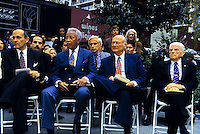 (L-R) Mayor Rudy Giuliani, Former Mayors David N. Dinkins, Edward I. Koch and Abe Beame at a dedication of a statue of Mayor LaGuardia in May, 1994.  Former Mayor Beame passed away on February 10, 2001 at the age of 93 and Mayor Ed Koch passed away February 1, 2013 at the age of 88. (© Richard B. Levine)