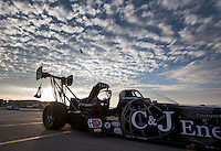 Feb 8, 2014; Pomona, CA, USA; The car of NHRA top fuel dragster driver Bob Vandergriff Jr is towed back to the pits during qualifying for the Winternationals at Auto Club Raceway at Pomona. Mandatory Credit: Mark J. Rebilas-