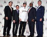 (L-R) John Boggs, David Samson, Ichiro Suzuki, Michael Hil, Dan Jennings (Marlins), JANUARY 29, 2015 - MLB : Miami Marlins newly signed outfielder Ichiro Suzuki (C), president David Samson (second left), general manager Dan Jennings (R), Director of Baseball Operations Michael Hill (second right) and agent John Boggs (L) attend an introductory news conference in Tokyo, Japan. (Photo by Motoo Naka/AFLO)