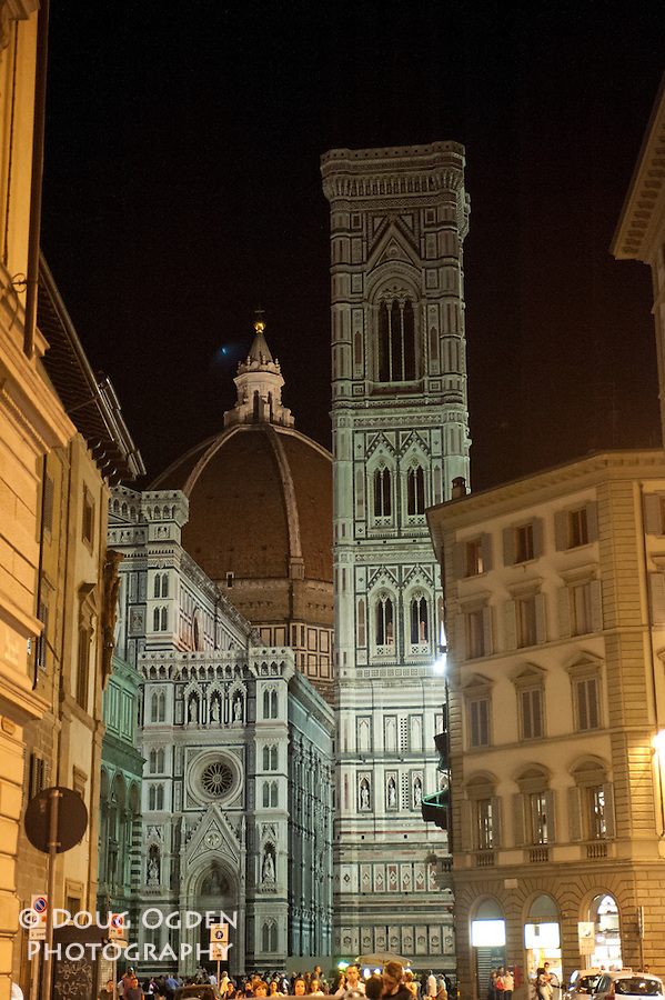 Doumo, Facade, and Bell Tower at night, Florence, Italy