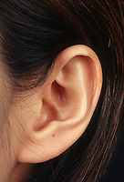 Anatomical detail of a woman's ear.