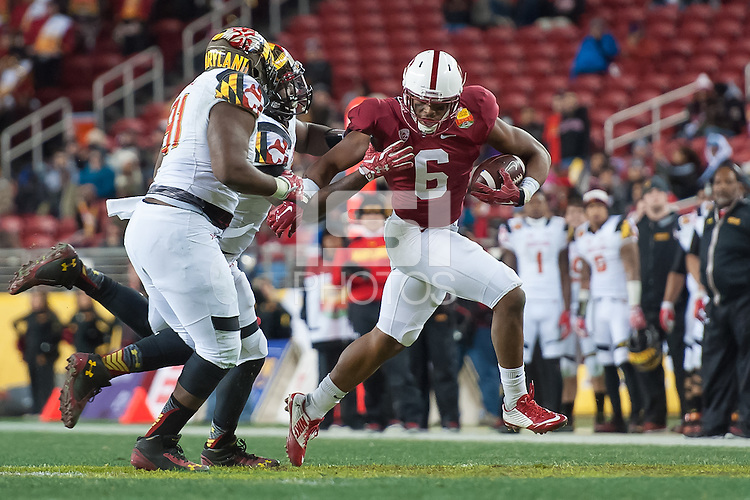 SANTA CLARA, CA - DECEMBER 30, 2014:  Francis Owusu during Stanford's game against Maryland in the 2014 Foster Farms Bowl. The Cardinal defeated the Terrapins 45-21.