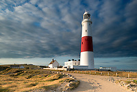 Portland Lighthouse in the evening light, Portland Bill, Dorset, Uk