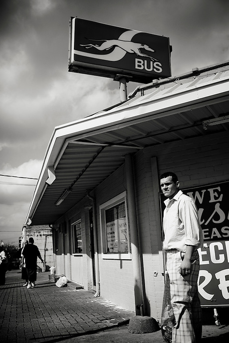 Scott Galan, 26, waits at the Greyhound bus station after being released from the Texas State Penitentiary in Huntsville, Texas.