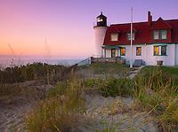 Benzie County, MI: Point Betsie Lighthouse (1858) at dusk on Lake Michigan