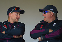 England captain Joe Root with head coach Chris Silverwood during day two of the international cricket 1st test match between NZ Black Caps and England at Bay Oval in Mount Maunganui, New Zealand on Friday, 22 November 2019. Photo: Dave Lintott / lintottphoto.co.nz