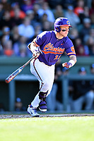 Clemson Tigers designated hitter Robert Jolly (12) swings at a pitch during a game against the South Carolina Gamecocks at Fluor Field on March 3, 2018 in Greenville, South Carolina. The Tigers defeated the Gamecocks 5-1. (Tony Farlow/Four Seam Images)