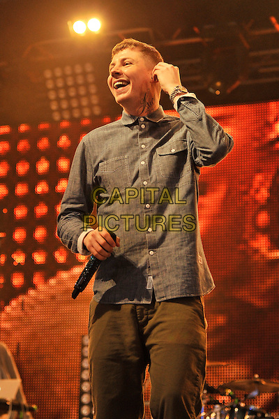 PROFESSOR GREEN (Stephen Paul Manderson).Performing live at Radio 1's Big Weekend, Carlisle, England, UK..May 15th 2011.stage concert live gig performance music half length blue shirt green trousers .CAP/MAR.© Martin Harris/Capital Pictures.