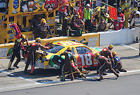 Sept. 28, 2008; Kansas City, KS, USA; Nascar Sprint Cup Series driver Kyle Busch pits during the Camping World RV 400 at Kansas Speedway. Mandatory Credit: Mark J. Rebilas-