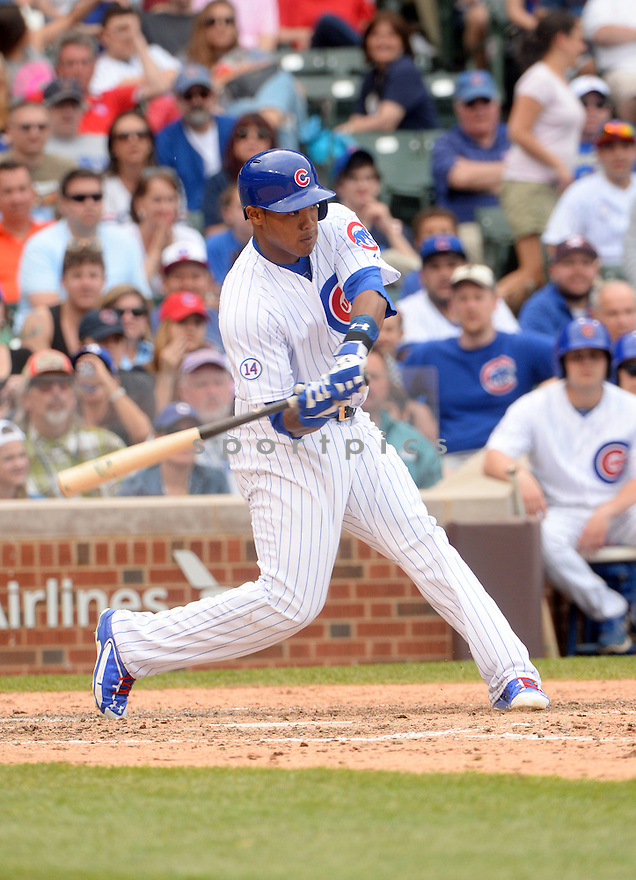Chicago Cubs Addison Russell (22) during a game against the Milwaukee Brewers on May 3, 2015 at Wrigley Field in Chicago, IL. The Brewers beat the Cubs 5-3.