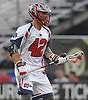 Max Seibald #42 of the Boston Cannons, a graduate of Hewlett High School, carries downfield during a Major League Lacrosse game against the New York Lizards at Shuart Stadium in Hempstead, NY on Thursday, July 20, 2017.