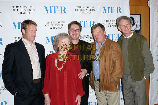 """MARK VALLEY, BETTY WHITE, JAMES SPADER, WILLIAM SHATNER & RENE AUBERJONOIS.""""Boston Legal"""" 22nd Annual William S. Paley Television Festival Presented by the Museum of Television and Radio at the Directors Guild of America Theatre, West Hollywood, California.March 15th, 2005.Photo Credit: Jacqui Wong/AdMedia.half length brown jacket pinstripe hands in pockets.www.capitalpictures.com.sales@capitalpictures.com.© Capital Pictures."""