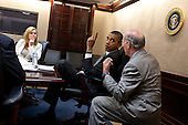 United States President Barack Obama confers with Chief of Staff Bill Daley during a meeting with senior advisors in the Situation Room of the White House, July 8, 2011. Deputy Senior Advisor Stephanie Cutter is at left. .Mandatory Credit: Pete Souza - White House via CNP