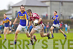 Scartaglin's Pa Rahilly breaks away from Barry Lordan of Diarmuid Mathunas, Cork in the Munster Novice Final last Sunday in Knockaderry.