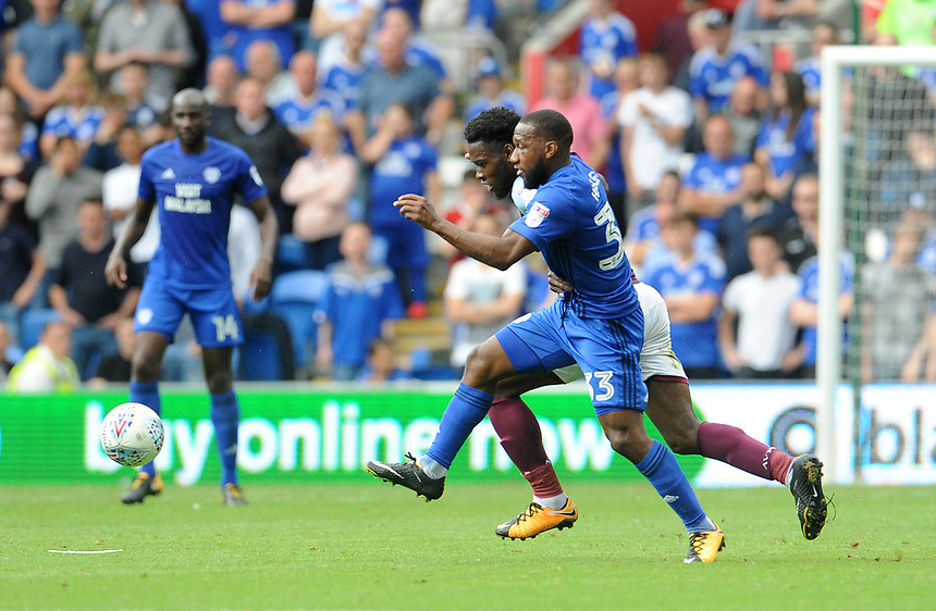 Cardiff City's Junior Hoilett battles with Aston Villa's Joshua Onomah<br /> <br /> Photographer Ian Cook/CameraSport<br /> <br /> The EFL Sky Bet Championship - Cardiff City v Aston Villa - Saturday August 12th 2017 - Cardiff City Stadium - Cardiff<br /> <br /> World Copyright &copy; 2017 CameraSport. All rights reserved. 43 Linden Ave. Countesthorpe. Leicester. England. LE8 5PG - Tel: +44 (0) 116 277 4147 - admin@camerasport.com - www.camerasport.com