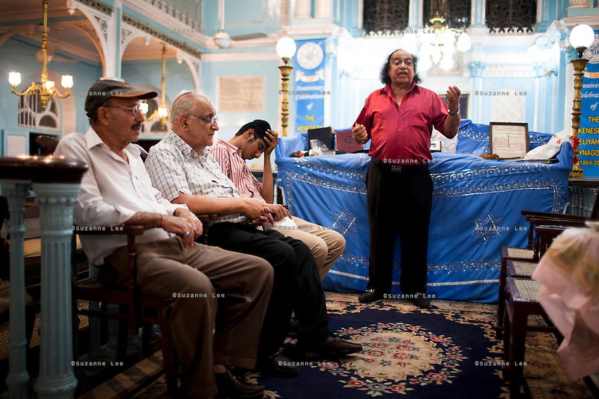 Elder members of the Jewish community gather to pray during a High Holy Day at the Keneseth Eliyahoo synagogue in Mumbai, India. Very rarely do the Jews of India manage to obtain a minyan (a quorum of 10 men for public worship) since the mass exodus of Indian Jews in the 1950s and 1960s.