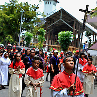 Members of Ambon's devout Christian community taking part in a Passion Play, one of the many Holy Week activities each Easter here. The 1999-2002 religious war between Maluku's Christian and Muslim populations, mainly centred on Ambon Island, led to over 5000 deaths and to around 500,000 people become displaced. Destroyed homes and offices, churches and mosques are slowly being either torn-down or renovated.  Urban centres, such as Ambon City, continue to be split along largely sectarian lines, and tensions are never far below the surface. Riots between Christian and Muslim youths erupted in September 2011 and, most recently, June 2012, though luckily simmered down just as quickly, partly due to community leaders learning how to defuse tensions from the earlier, more devastating, conflagration. /Felix Features