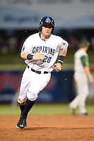 Lake County Captains outfielder Clint Frazier (20) running the bases during a game against the Fort Wayne TinCaps on August 21, 2014 at Classic Park in Eastlake, Ohio.  Lake County defeated Fort Wayne 7-8.  (Mike Janes/Four Seam Images)