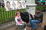 Street portrait artist, Leicester Square, London, England