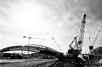 Construction site of the 1976  Montreal Olympic stadium and velodrome.