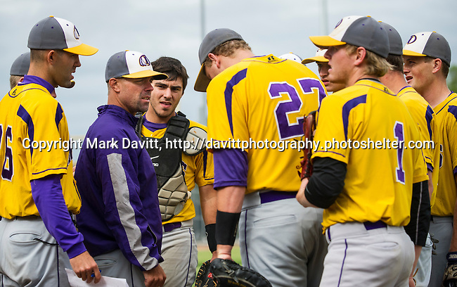 IHS Coach Casey Aldridge gathered the team for a team talk. It must have been a good one as Indianola boys baseball team won both ends of a double header at home July 3, beating Roosevelt 4-1 and 14-3 in only 5 innings.