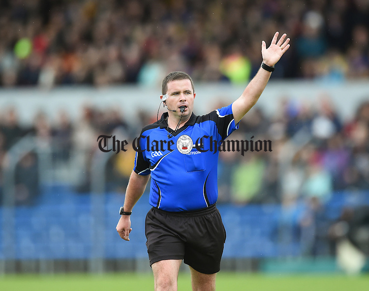 Referee Rory Mc Gann during the senior hurling county final at Cusack park. Photograph by John Kelly.