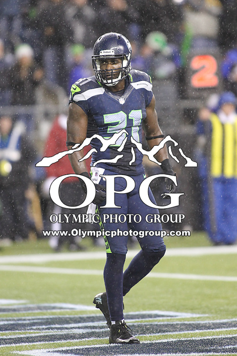 Dec 23, 2012:  Seattle Seahawk's Kam Chancellor against the San Francisco during Sunday nights game of the week at Century Link Stadium in Seattle WA.  Seattle defeated San Francisco 42-13.
