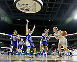 SIOUX FALLS, SD - February 13: Alexis Marsico #30, Hanna VanDerWerff #22, Taylor Molstad #4 and Kiana Maxon #2 from Rapid City Stevens defend as Izzy VanVeldhuizen #20 from Sioux Falls Lincoln drives the baseline in the first half of their game Friday night at the Denny Sanford Premier Center. (Photo by Dave Eggen/Inertia)