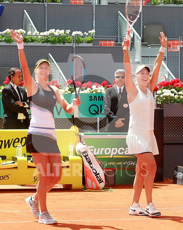 Ekaterina Makarova and Elena Vesnina, Russia, celebrate the victory in the Madrid Open Tennis 2018 WTA Doubles Final match. May 12, 2018.(ALTERPHOTOS/Acero)