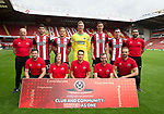 Sheffield Utd team group with community members during the 2017/18 Photocall at Bramall Lane Stadium, Sheffield. Picture date 7th September 2017. Picture credit should read: Sportimage
