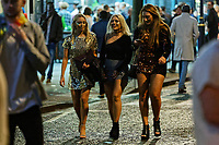 Pictured: Female revellers. Sunday 31 December 2017 and 01 January 2018<br /> Re: New Year revellers in Wind Street, Swansea, Wales, UK