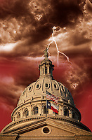 Texas State Capitol with Stormy Skies Composite Photo Illustration
